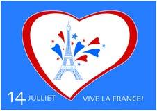 Jour de bastille 14 de graphique de vecteur de vacances nationales de Frances de juillet Photo stock