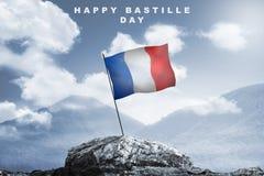 Jour de bastille heureux avec le drapeau de Frances Image libre de droits