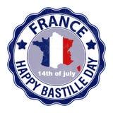 Jour de bastille heureux, le 14 juillet Jour national du ` s de Viva France Illustration de vecteur Timbre, emblème rond illustration stock