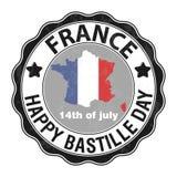 Jour de bastille heureux, le 14 juillet Jour national du ` s de Viva France Illustration de vecteur Timbre, emblème rond gris illustration stock