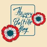 Jour de bastille Insigne et ruban Le tricolore français, les couleurs du drapeau français Main marquant avec des lettres le jour  Photos stock