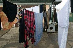 Jour de blanchisserie dans le village ukrainien image libre de droits