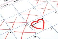 Jour de calendrier et de valentine Images stock