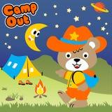 Jour de camp avec la bande dessinée mignonne d'ours images stock