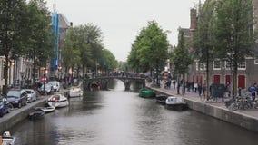 Jour de canal d'Amsterdam banque de vidéos