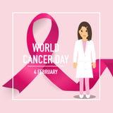 Jour de cancer du monde 4 février Fond de conception de jour de cancer du monde illustration de vecteur