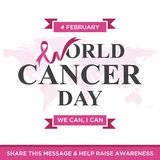Jour de cancer du monde marquant avec des lettres la conception d'élément avec le ruban pourpre de couleur sur le fond blanc illustration de vecteur