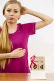 Jour de cancer du sein de femme et du monde sur le calendrier Photographie stock