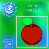 Jour de coeur du monde 29 septembre Apple, coupe au coeur Calendrier de série Vacances autour du monde Événement de chaque jour d illustration stock