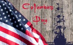 Jour de Columbus heureux Les Etats-Unis diminuent images stock