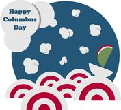 Jour de Columbus heureux Marine Landscape avec des bateaux Photos libres de droits