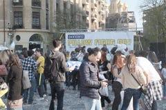 Jour de combat d'oreiller Photos libres de droits
