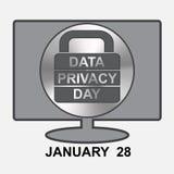 Jour de confidentialité des données Ordinateur avec la serrure de signe Photographie stock