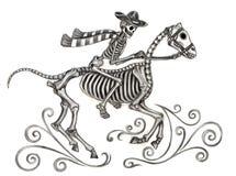 Jour de cowboy d'art de crâne des morts Image stock