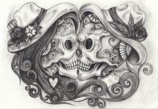 Jour de crânes d'amour d'Art In des morts illustration stock