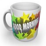 Jour de début de tasse de café bonjour nouveau frais Photographie stock libre de droits