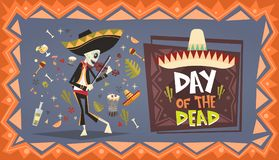 Jour de décoration traditionnelle morte de Halloween Dia De Los Muertos Holiday Party de Mexicain Illustration Stock