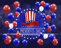Jour de ` de présidents Carte de voeux stylisée Le chapeau et l'inscription avec les souhaits du bonheur sur un fond Photographie stock
