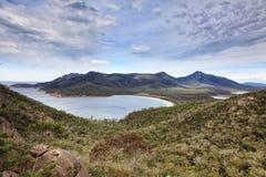Jour de dessus de baie de verre à vin de la Tasmanie Photo libre de droits