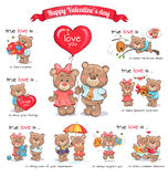Jour de deux Teddy Bears Celebrate Happy Valentine s Images libres de droits