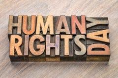 Jour de droits de l'homme - exprimez le résumé dans le type en bois Photographie stock