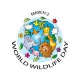 Jour de faune du monde illustration de vecteur