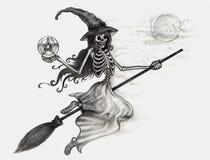 Jour de Halloween de sorcière de crâne d'art Image libre de droits