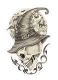Jour de Halloween de tatouage de sorcière de crâne d'art illustration stock