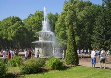 Jour de juillet à la fontaine romaine peterhof Russie Photos libres de droits