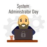 Jour de l'interface gestionnaire Bande dessinée, homme drôle de photo avec une barbe et interface gestionnaire de tête chauve illustration libre de droits