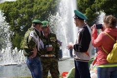 Jour de la célébration de garde frontière à Moscou Images stock