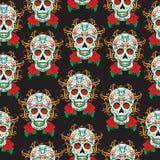 Jour de la célébration morte, un festival au Mexique Modèle sans couture de Sugar Skull, fond squelettique, texture, papier peint Photos stock