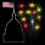 Jour de la Déclaration d'Indépendance américain, symboles des USA, illustration de vecteur Photographie stock