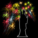 Jour de la Déclaration d'Indépendance américain, symboles des USA, illustration de vecteur Photos libres de droits