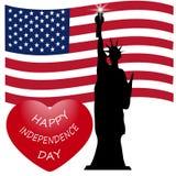 Jour de la Déclaration d'Indépendance américain, symboles des USA, illustration de vecteur Image libre de droits