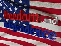 Jour de la Déclaration d'Indépendance aux Etats-Unis d'Amérique Indicateur des Etats-Unis 3D rendu, illustration Photos stock