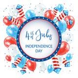 Jour de la Déclaration d'Indépendance avec des ballons et des feux d'artifice sur le fond blanc Photo stock