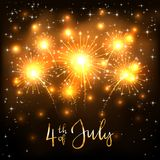 Jour de la Déclaration d'Indépendance avec les feux d'artifice d'or Photos stock
