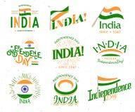 Jour de la Déclaration d'Indépendance d'Inde de l'ensemble d'Empire Britannique de rétros logos de style de vecteur Collection un illustration stock