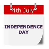 Jour de la Déclaration d'Indépendance de calendrier Images libres de droits