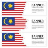 Jour de la Déclaration d'Indépendance de collection de bannières de drapeau de la Malaisie Image libre de droits