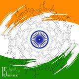 Jour de la Déclaration d'Indépendance de félicitation avec l'Inde manuscrite de mot Photographie stock libre de droits