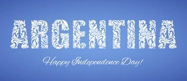 Jour de la Déclaration d'Indépendance de l'Argentine Police décorative faite dans les remous et les éléments floraux illustration libre de droits