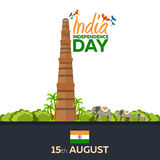 Jour de la Déclaration d'Indépendance de l'Inde Illustration de vecteur 15 août Photo libre de droits