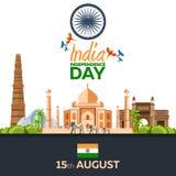 Jour de la Déclaration d'Indépendance de l'Inde Illustration de vecteur 15 août Photo stock