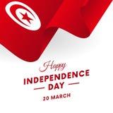Jour de la Déclaration d'Indépendance de la Tunisie 20 mars Drapeau de ondulation au coeur Vecteur Photographie stock