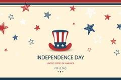 Jour de la Déclaration d'Indépendance Etats-Unis Quart de juillet Illustration patriotique américaine Fond de calibre de concepti illustration libre de droits