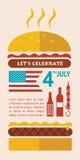 Jour de la Déclaration d'Indépendance HEUREUX de l'Amérique, carte ou Photographie stock