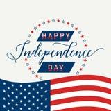 Jour de la Déclaration d'Indépendance heureux Etats-Unis 4 juillet quatrième Photo libre de droits