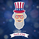 Jour de la Déclaration d'Indépendance heureux Etats-Unis Quart de juillet Attributs patriotiques, invitation de partie illustration de vecteur